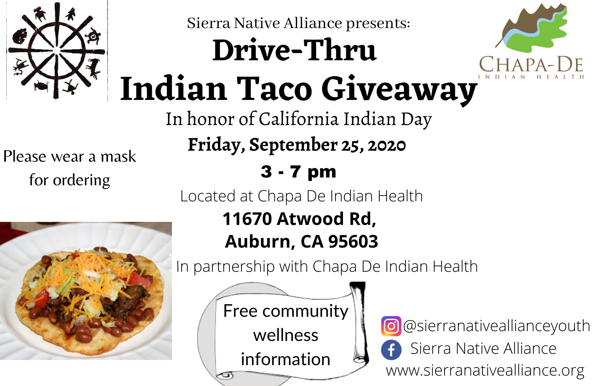 Drive-Thru Indian Taco Giveaway @ Chapa-De Indian Health Auburn